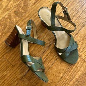 Talbots Bettie Cross Strap Leather Sandal Green